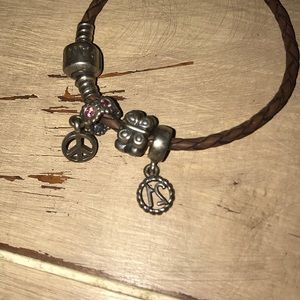 Pandora Jewelry - Pandora Leather Charm Bracelet!
